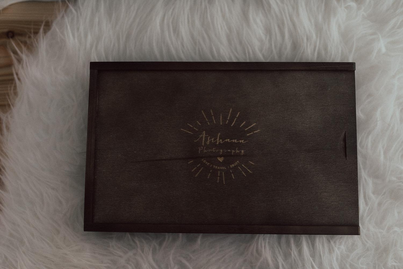 Holzbox für Fotos 13*18 mit USB Fach