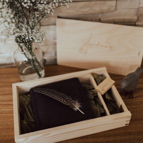 Holzbox für Fotos 15*23 mit USB Fach